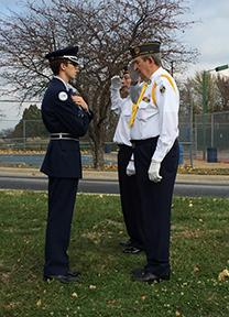 Air Force JROTC cadets participate in flag-raising ceremony on Veterans Day