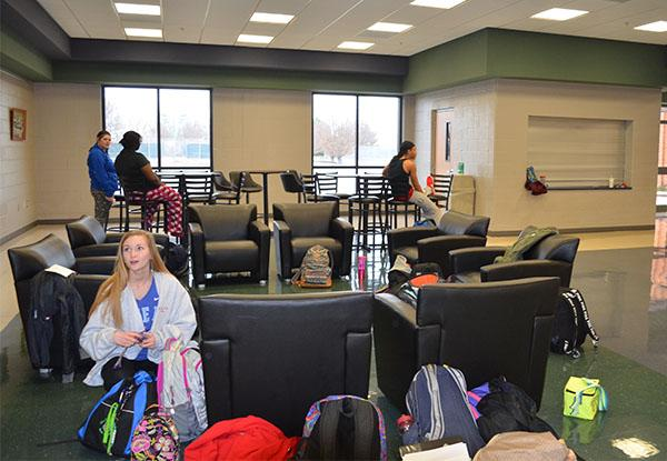 The learning lounge outside the PAC is expected to be fully completed by the beginning of next school year. Photo by Charly Buchanan.