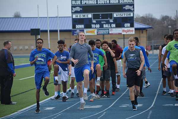 Members of the boys track team prepare for the upcoming season. Photo submitted