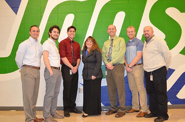 Teachers Heath Creek, Danny Mathis, Nathan Dorsch, Katie Rucinski, David Cuele, Jakob Estep, and Nathan Mooney are all South Alumni. Staff Photo