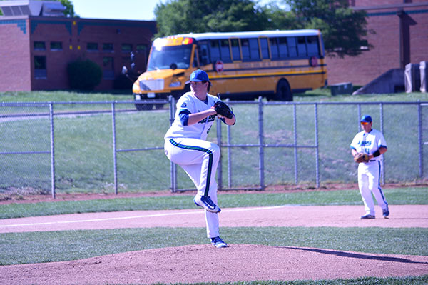 Senior Brandt Lightner pitches from the windup in a game against Lee's Summit on May 7th. The Jags finished the regular season with a record of 17-8. Photo by Serenity Bogue.