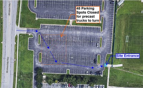 This photo indicates where student parking spots in the blue lot will be temporarily lost  Feb. 19-22 so construction crews can make deliveries for the freshman wing addition.