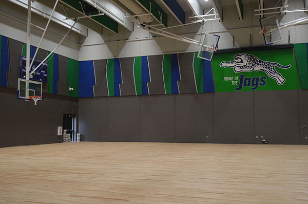 The new gym in the freshman wing still needs a few finishing touches before it's ready to use. The gyn will include basketball and volleyball courts. Photo by Amy Pacas