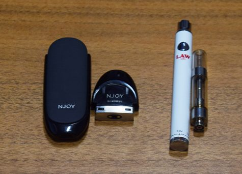Pictured above are two different brands of vaping devices. Njoy (on the left) and Law (on the right). Photo by Isabelle Mulvaney