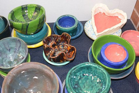 The bowls are made by students and staff at South. They will be included in the purchase of a ticket. Photo by Isabelle Mulvaney
